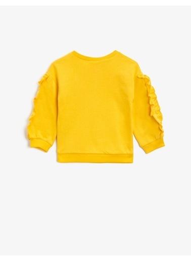 Koton Pamuklu Snoopy Lisansli Baskili Firfirli Sweatshirt Sarı